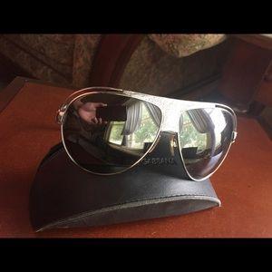 Dolce &Gabbana leather aviator sunglasses